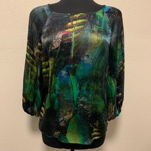 Lafayette 148 New York Abstract Silk Blouse